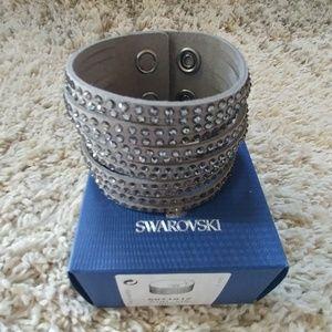 NIB Swarovski Slake Wide Crystal Grey Bracelet